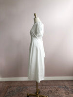 'JANET' belted french midi dress - white