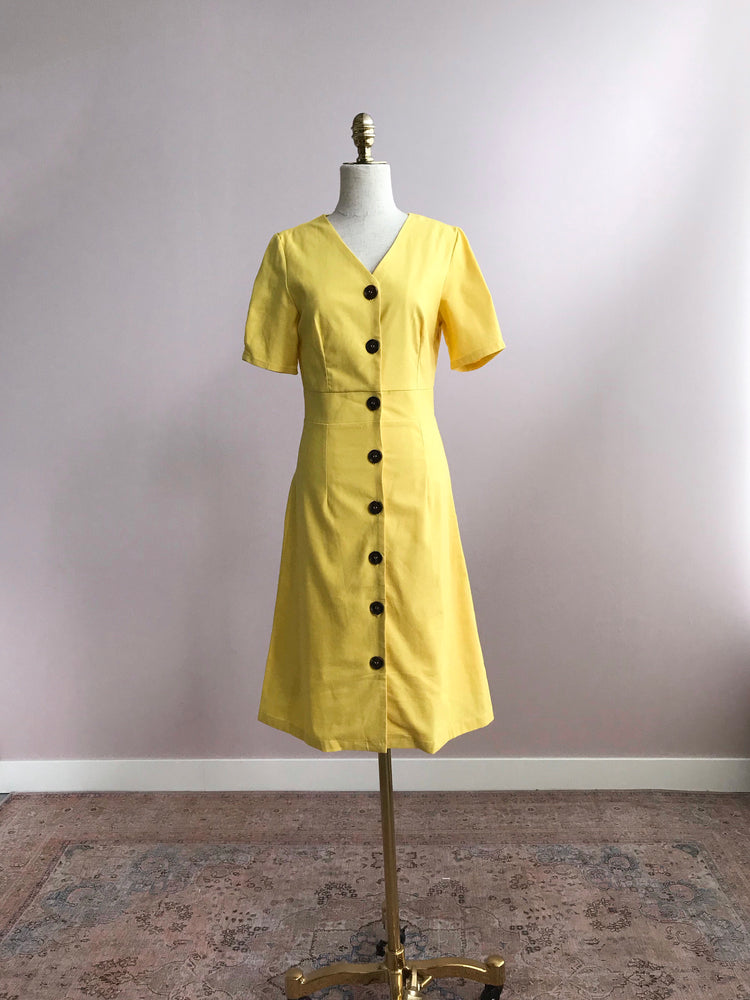 'QUINLAN' button front midi dress - yellow