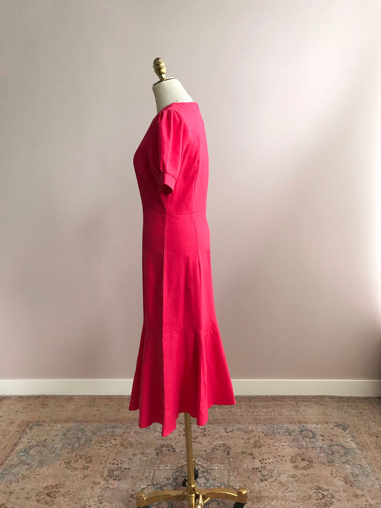 'WENDELIN' french style plain midi dress - rose pink