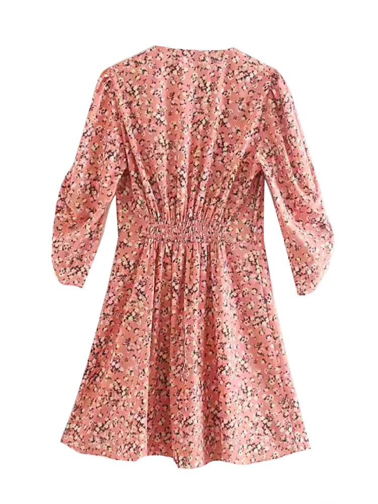 'CHELSEA' floral printed mini dress - pink