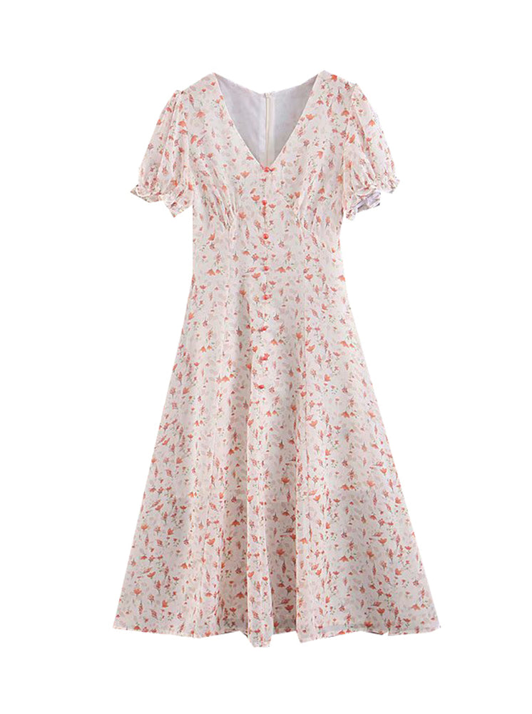 'KAELIE' v-neck floral printed buttoned midi dress - pink