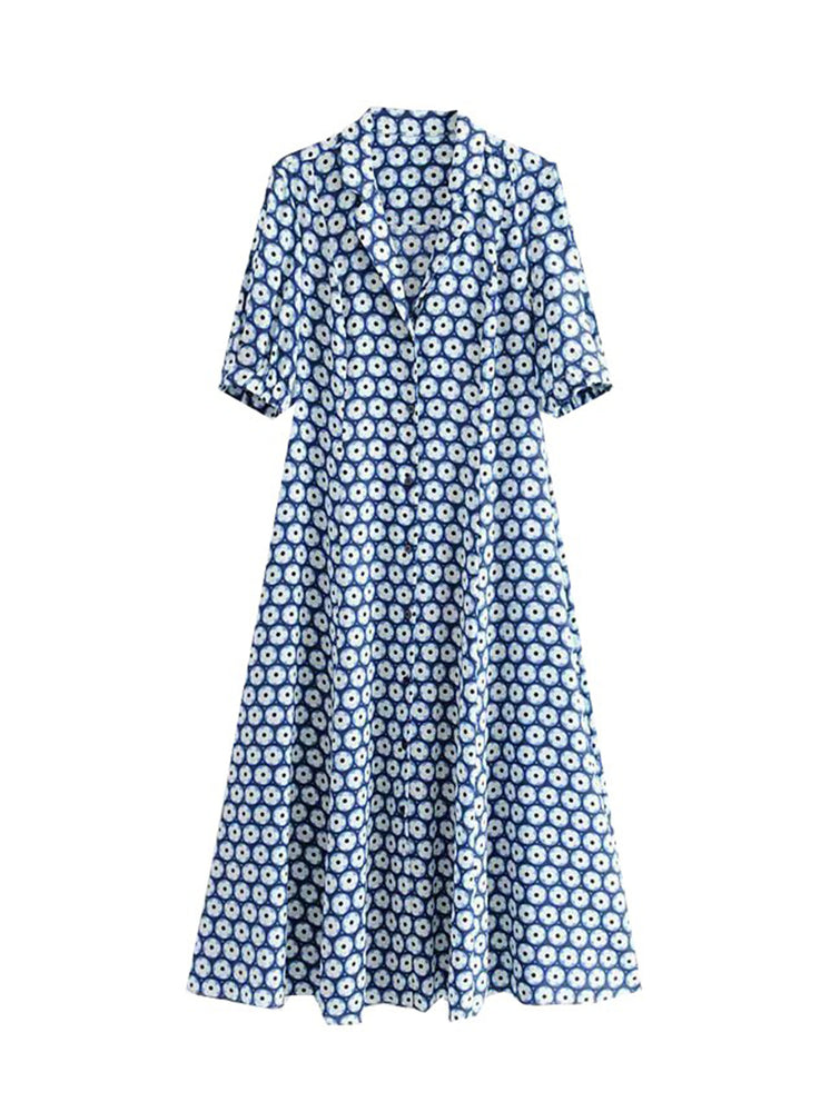 'KADY' v-neck floral printed midi dress - blue