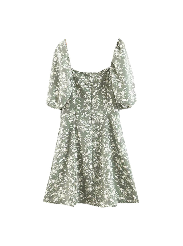 'ZAIDEE' floral printed puff sleeve mini dress - green