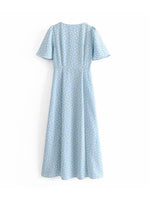 'ADA' v-neck floral buttoned midi dress - sky blue