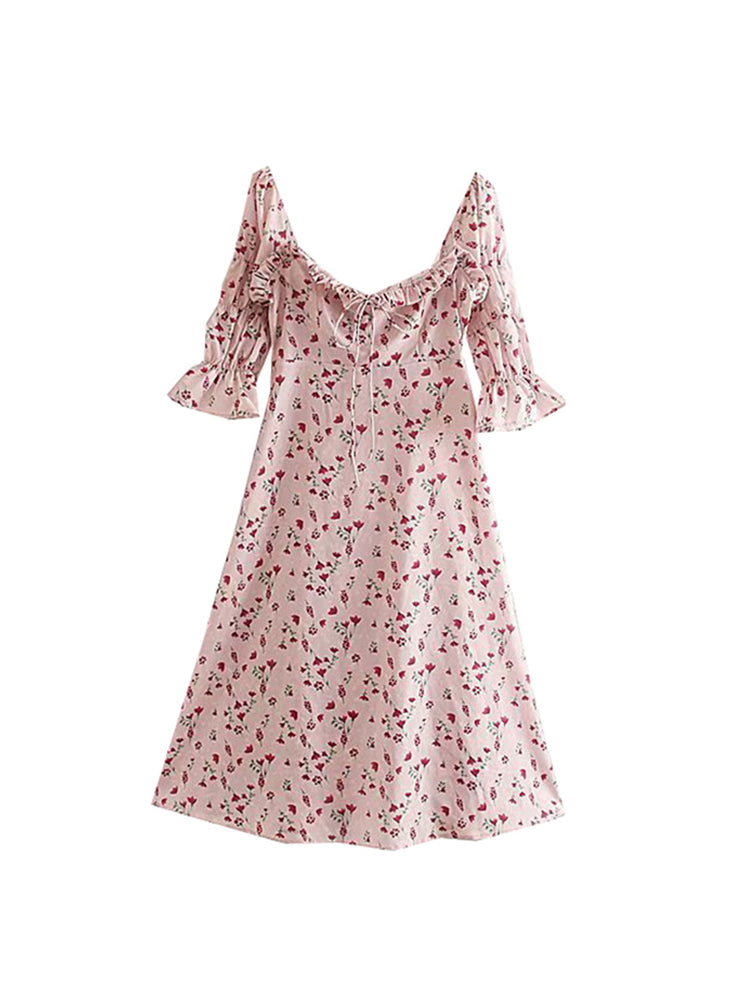 'BAMBI' floral ruffled sleeve mini dress - pink