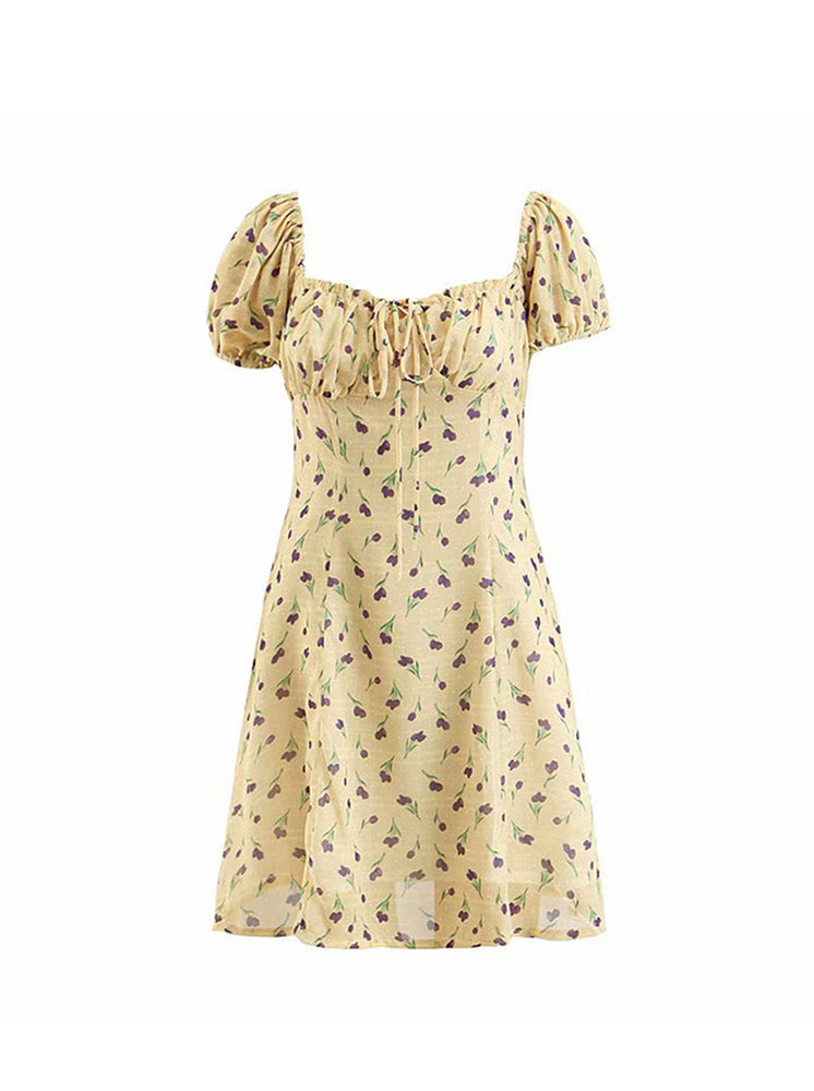 'WANGARI' Tulip printed ruffled sleeve mini dress - yellow