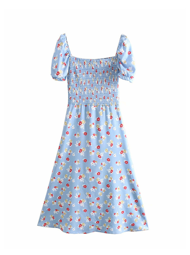 'EATHELYN' floral puff sleeve midi dress - light blue