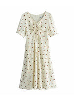 'ELIZABETH' dotted sleeve mini dress - cream
