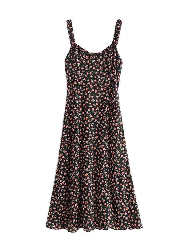 'Ellen' floral split midi dress - black