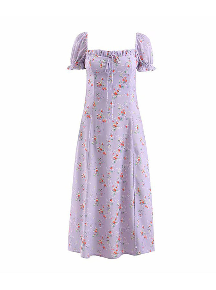 'SARA' floral puff sleeve midi dress - purple