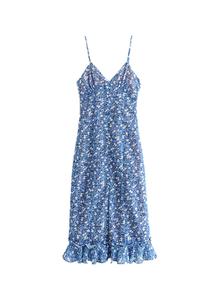 'QUINTA' v-neck floral buttoned midi dress - blue