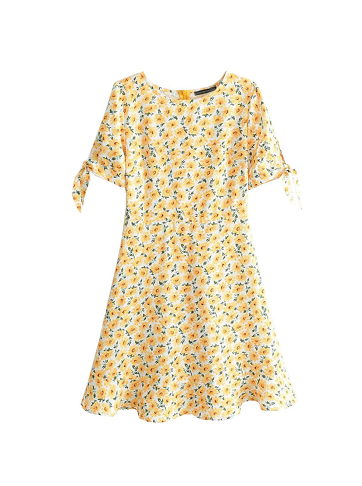 'RAMONA' floral printed tied sleeve mini dress- yellow