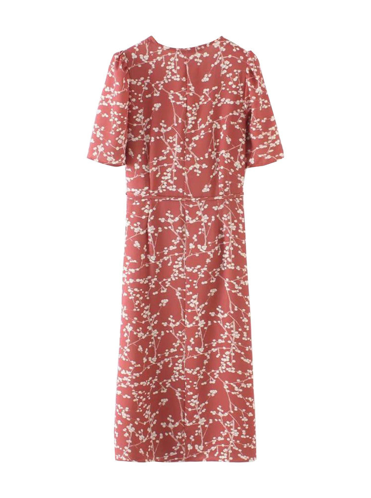'OLIVIA' v-neck floral printed wrap dress- red