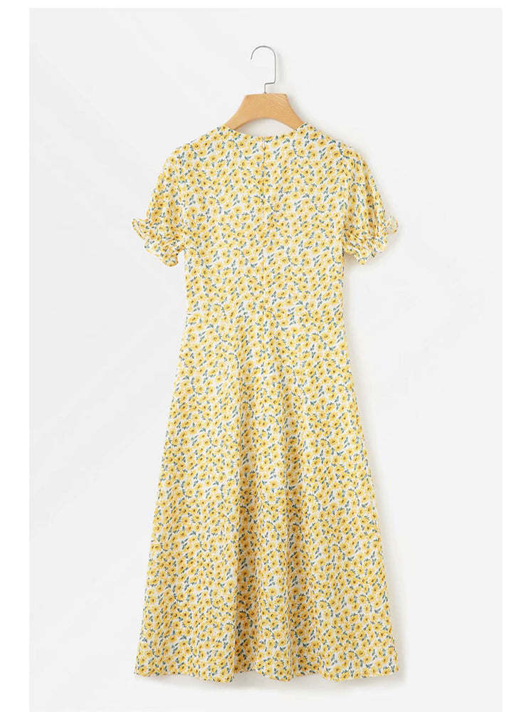 'JAVIS' v-neck floral printed buttoned midi dress - yellow