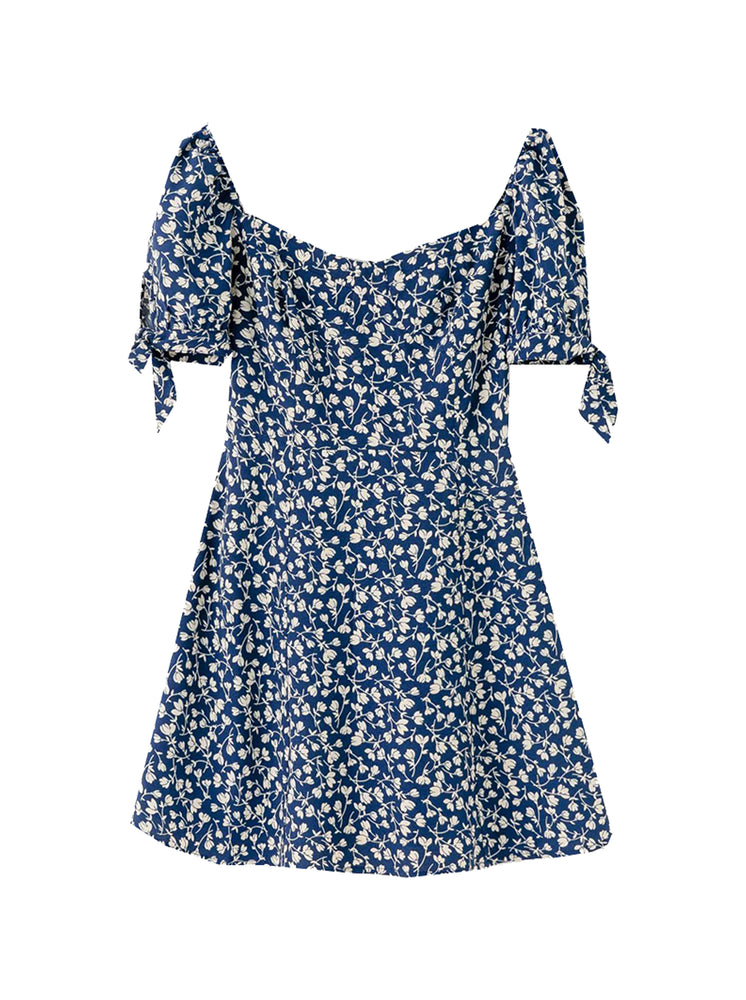 'JOIA' square-neck floral printed mini dress - blue