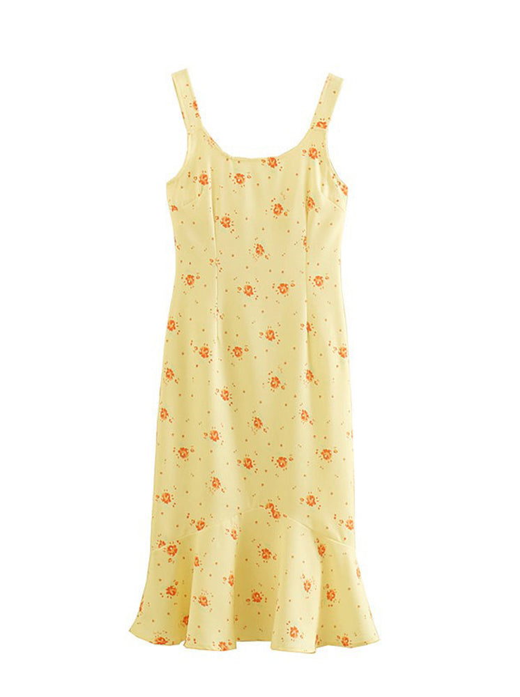 'QUIES' floral printed ruffled hem midi dress - yellow