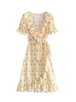 'BIRDIE' ruffled sleeve wrap dress - yellow