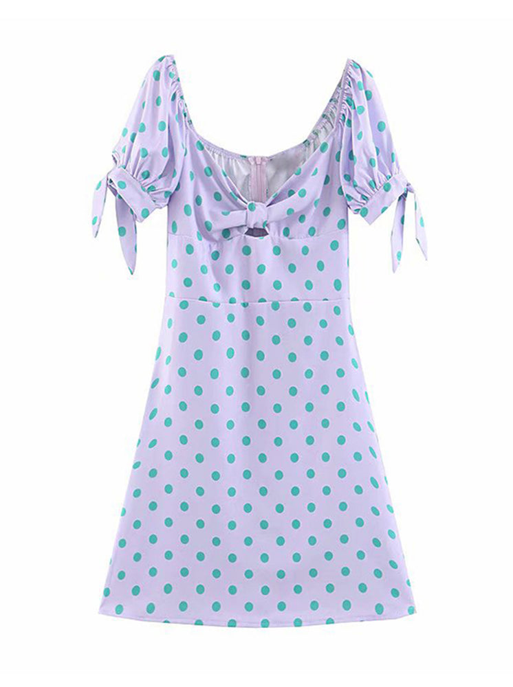 'LUCIA' dotted front tied mini dress - purple