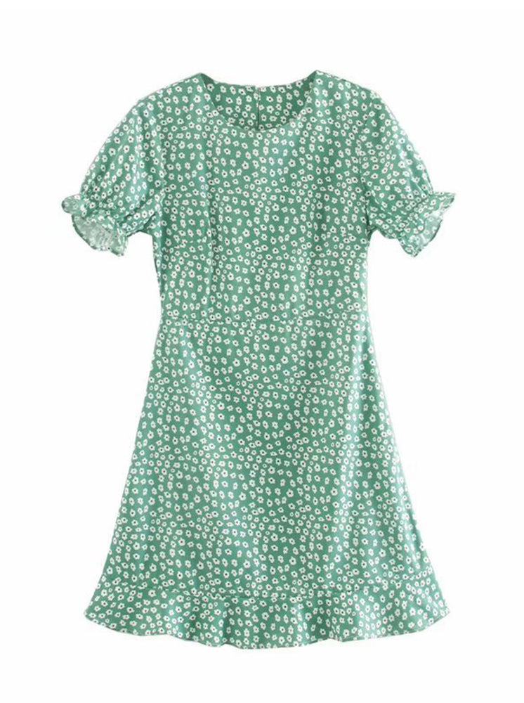 'KANDIS' floral printed ruffled sleeve mini dress - green
