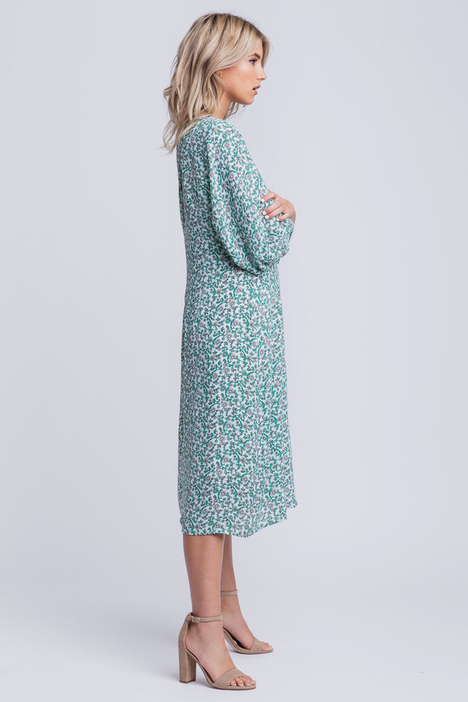 HARPER - floral balloon sleeved smock midi dress - green