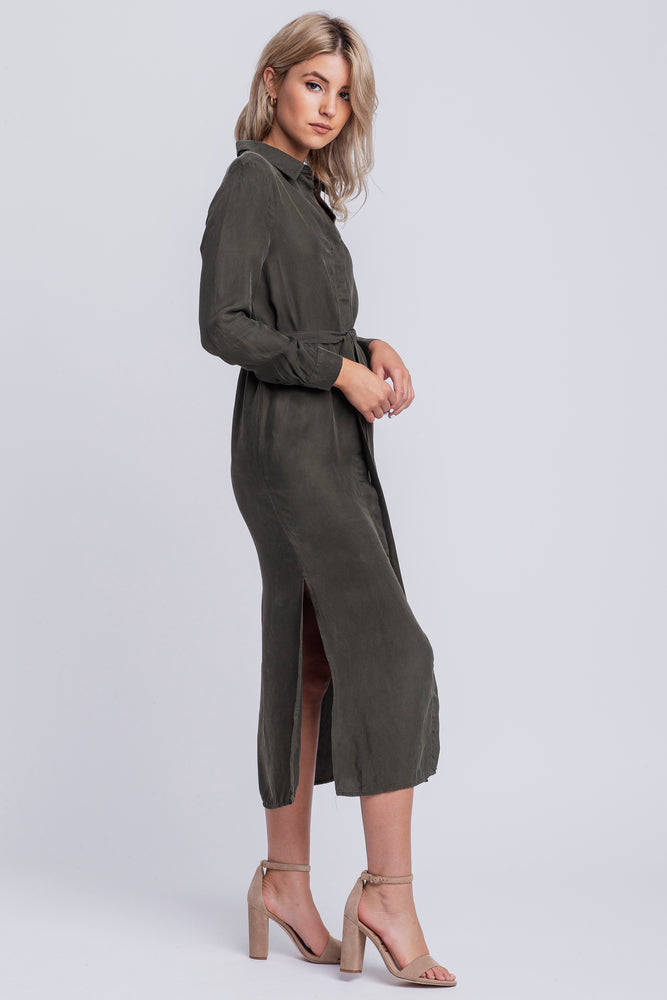 MATHILDE - classic midi shirtdress - military green