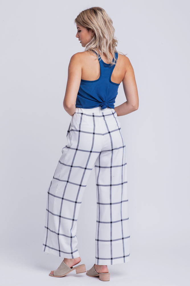 EMILY - high waisted plaid pants - white