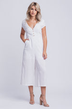 CHARLOTTE - linen short sleeved cropped jumpsuit - white