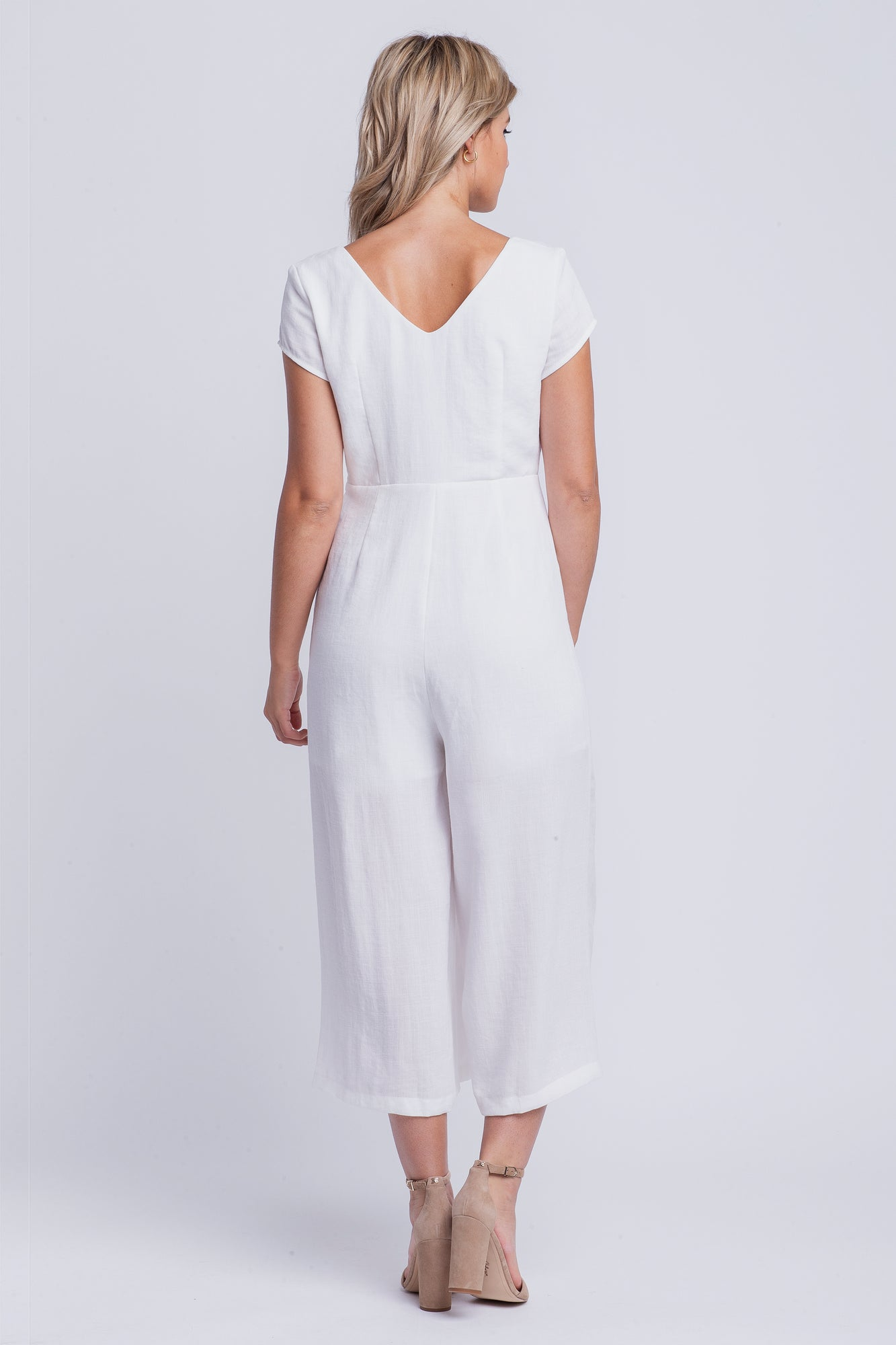 9e69083d01e5 CHARLOTTE - linen short sleeved cropped jumpsuit - white