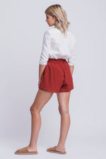 BELLA - high waisted linen shorts - rust
