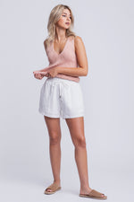 BELLA - high waisted linen shorts - white