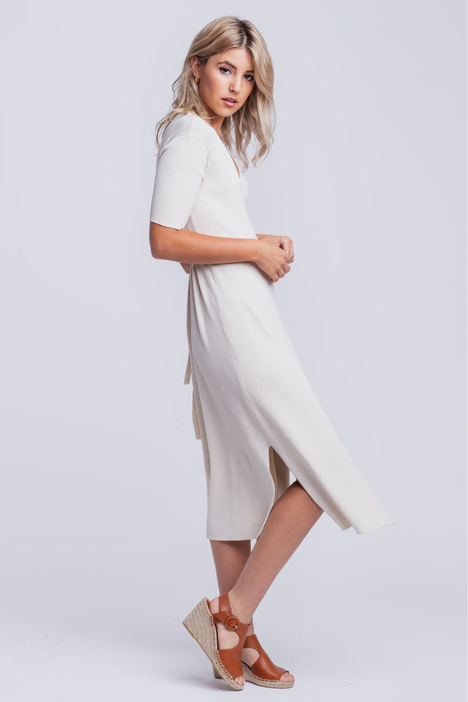 'Tasha' Knitted Wrap Midi Dress