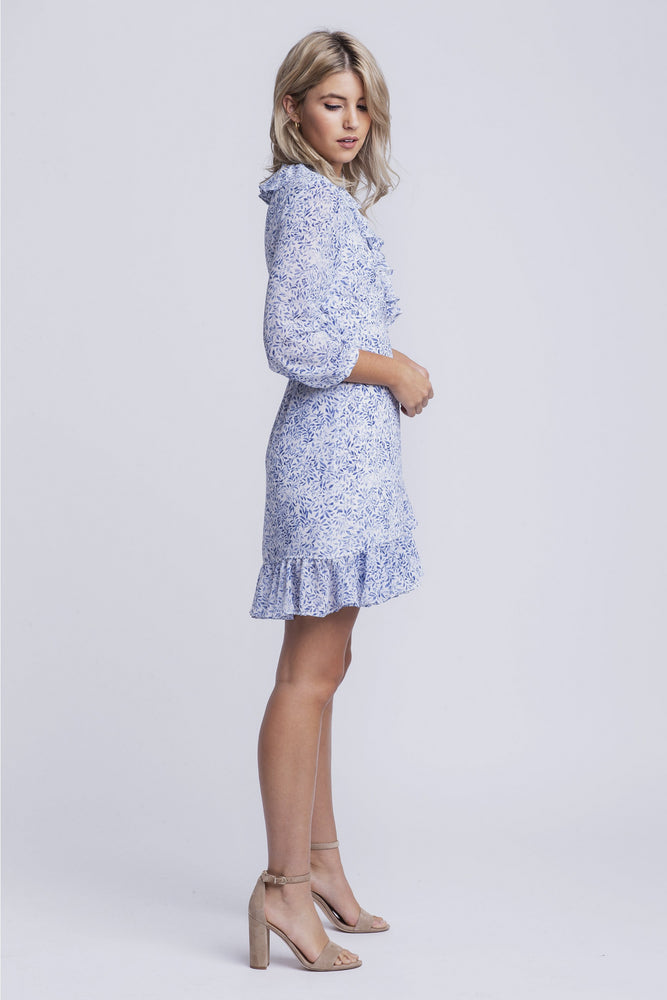MILA - chiffon printed wrap dress - blue print