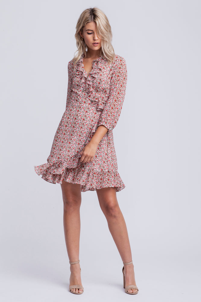 MILA - chiffon printed wrap dress - red print