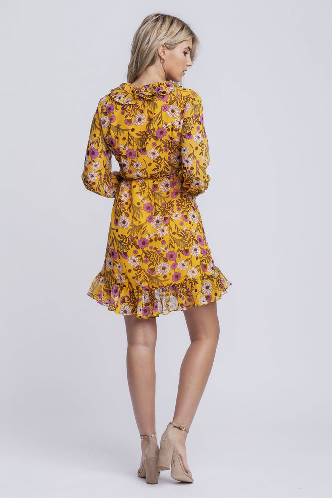 MILA - chiffon printed wrap dress - yellow print