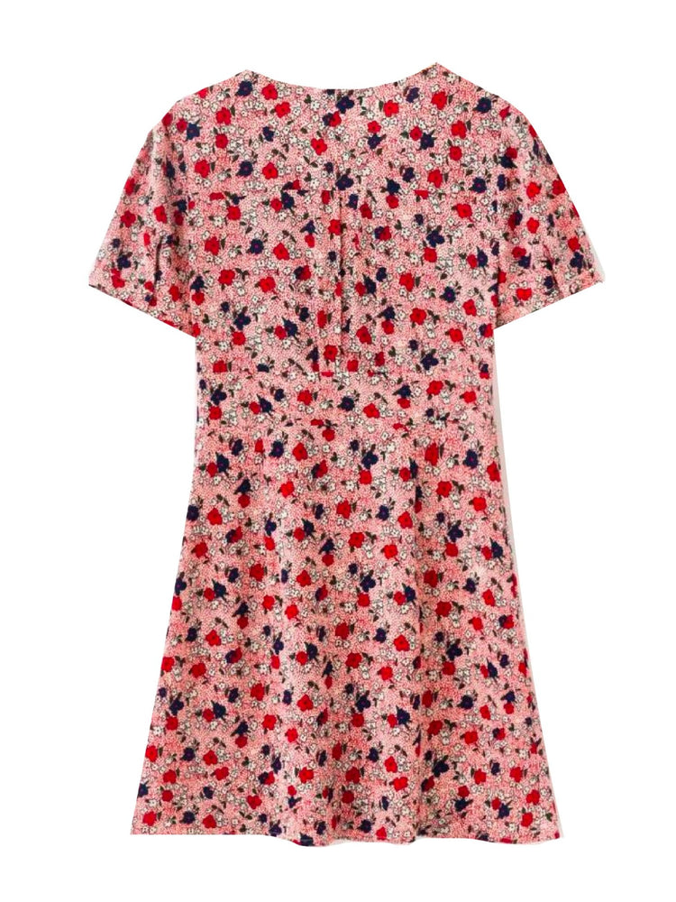 'NICOLETTE' floral printed button front mini dress - pink