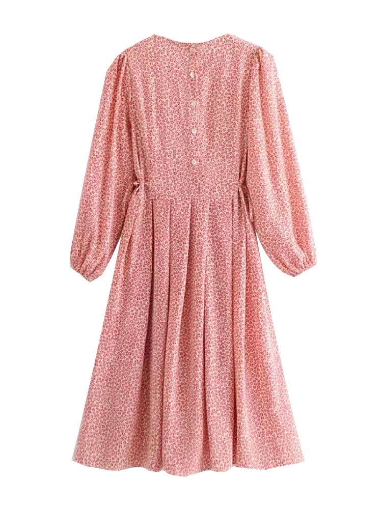 'GIANNA' floral balloon sleeved smock midi dress - pink