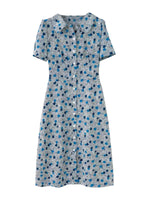 'JENA' floral printed lapel collar midi dress - blue