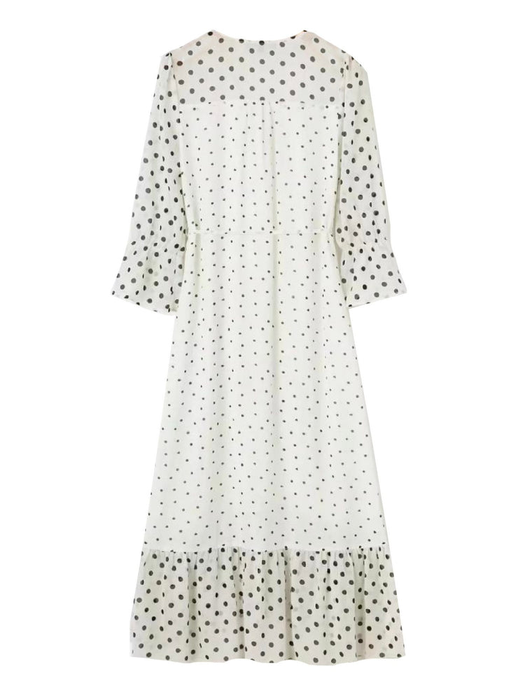 'KELSEY' dotted button front ruffled midi dress - white