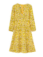 'MAGEN' floral printed v-neck midi dress - yellow