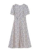 'CAMILLE' floral printed split midi dress - beige