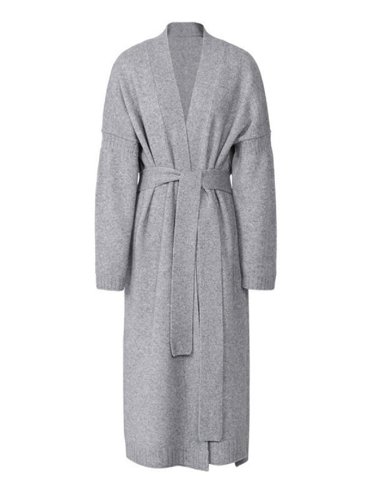 'MEGAN' belted open long cardigan - Grey