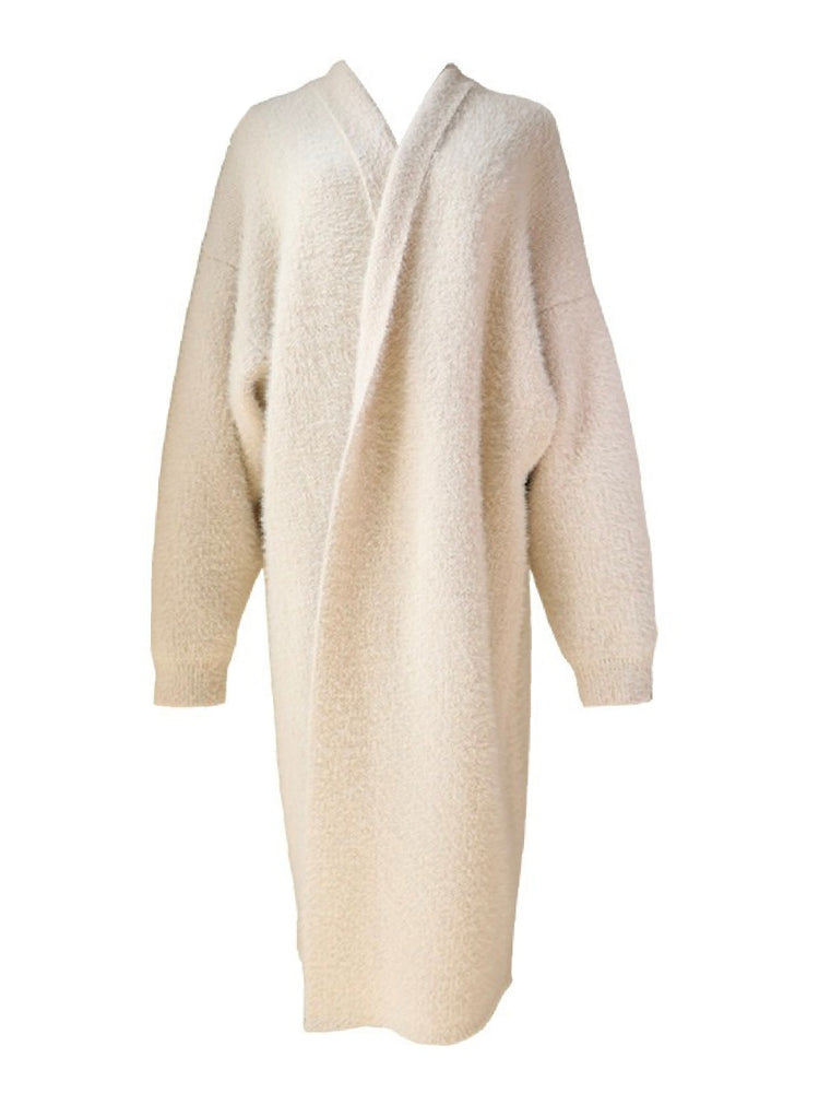 'ELYSSE' fluffy open long cardigan - cream white