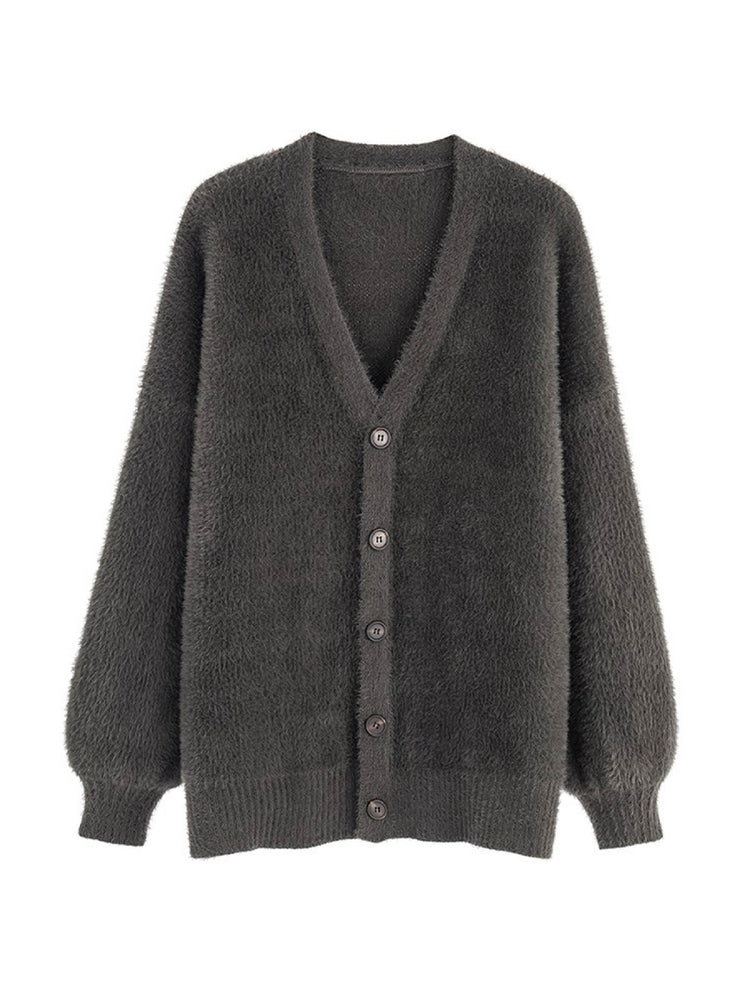 'TAMMY' button down bishop sleeves cardigan - dark grey
