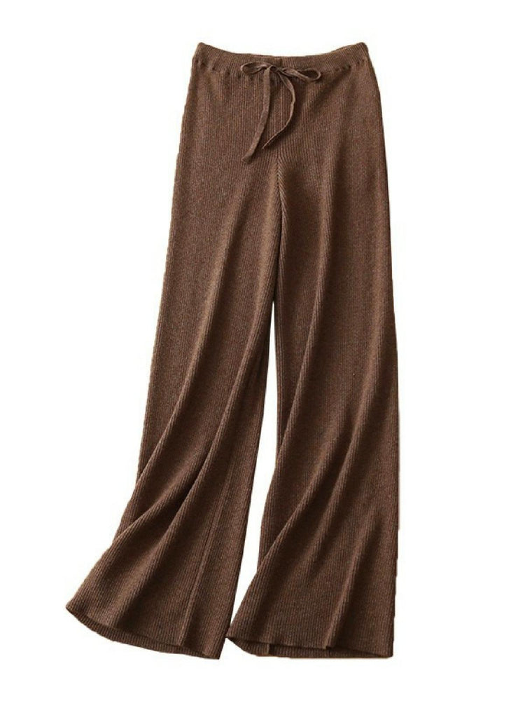 'Alexa' ribbed wide leg pants- brown