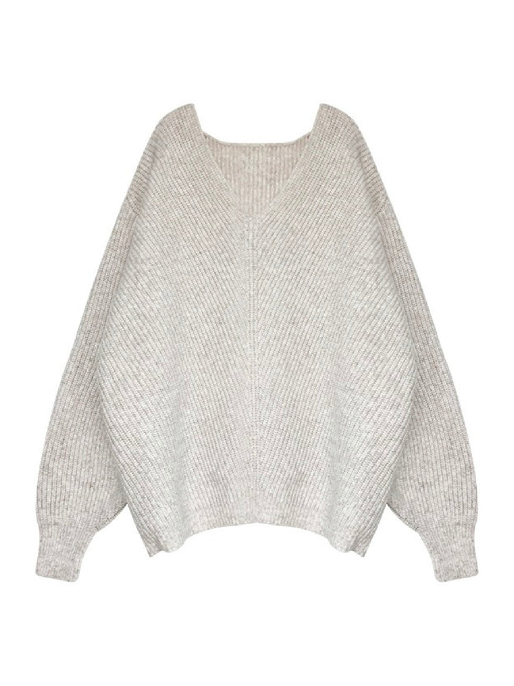 'CLAUDIA' v-neck oversize sweater - beige