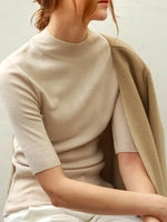 'ANGELLE' knitted half sleeves slim pullover - beige