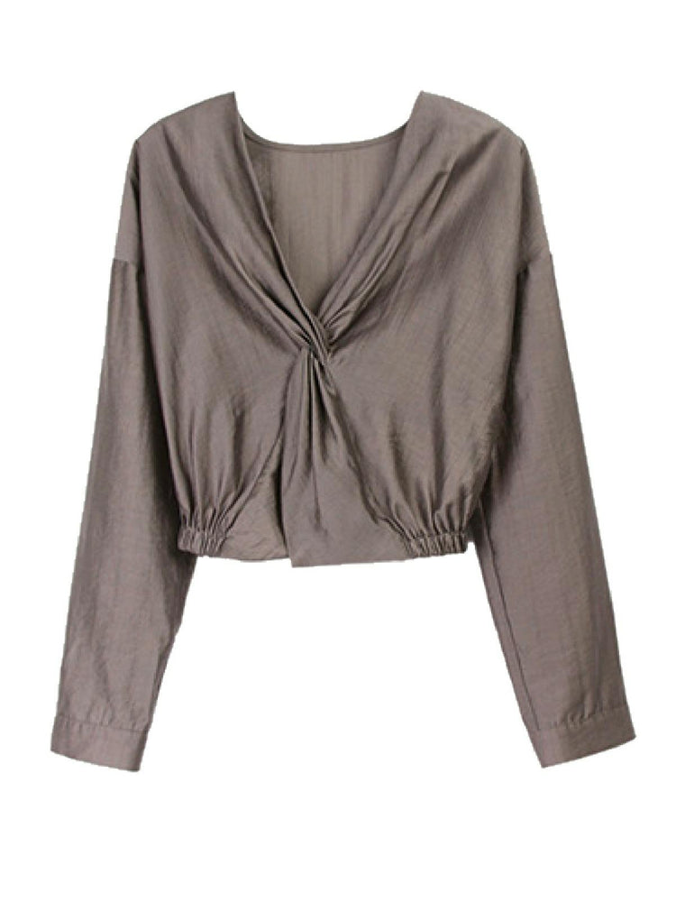 'AYLA' v-neck twisted front shirt - grey