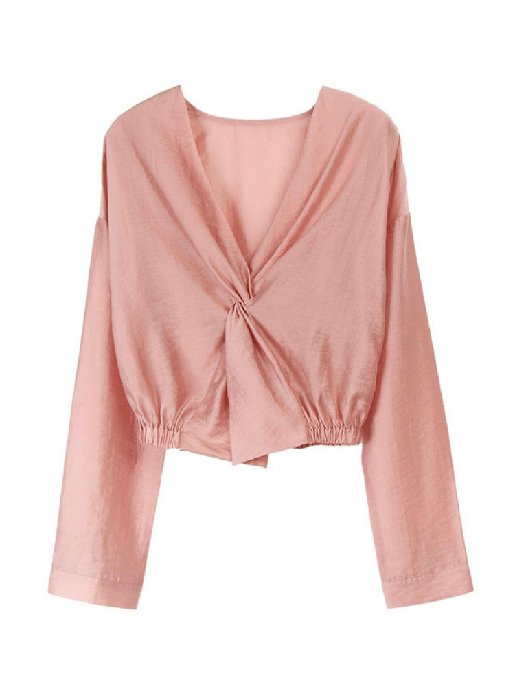 'AYLA' v-neck twisted front shirt - pink