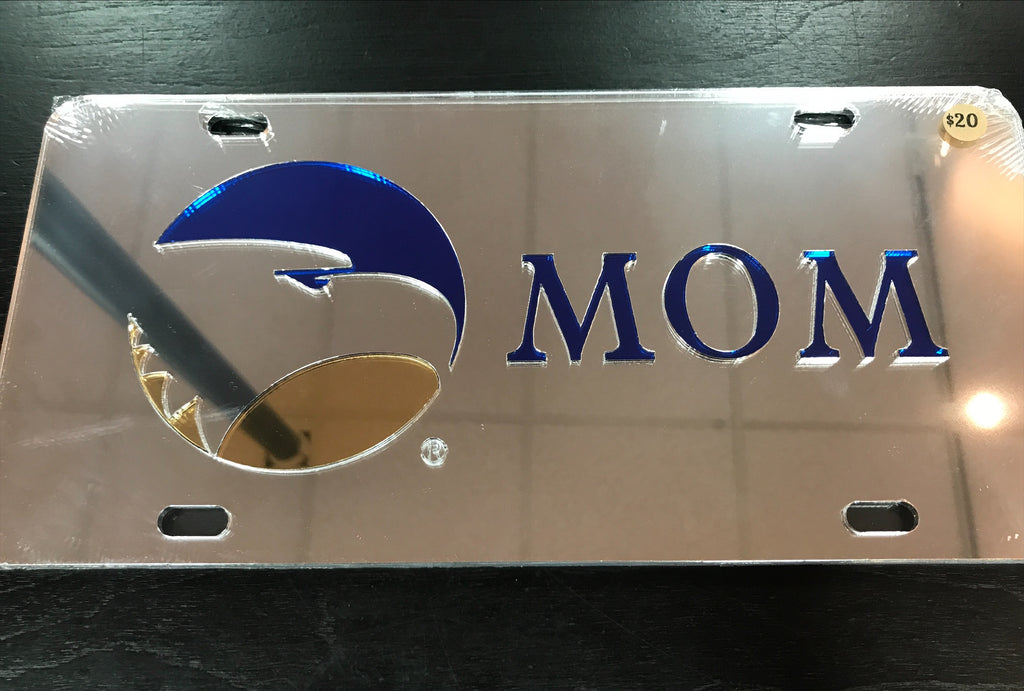 Mom Reflective Silver Laser Cut License Tag