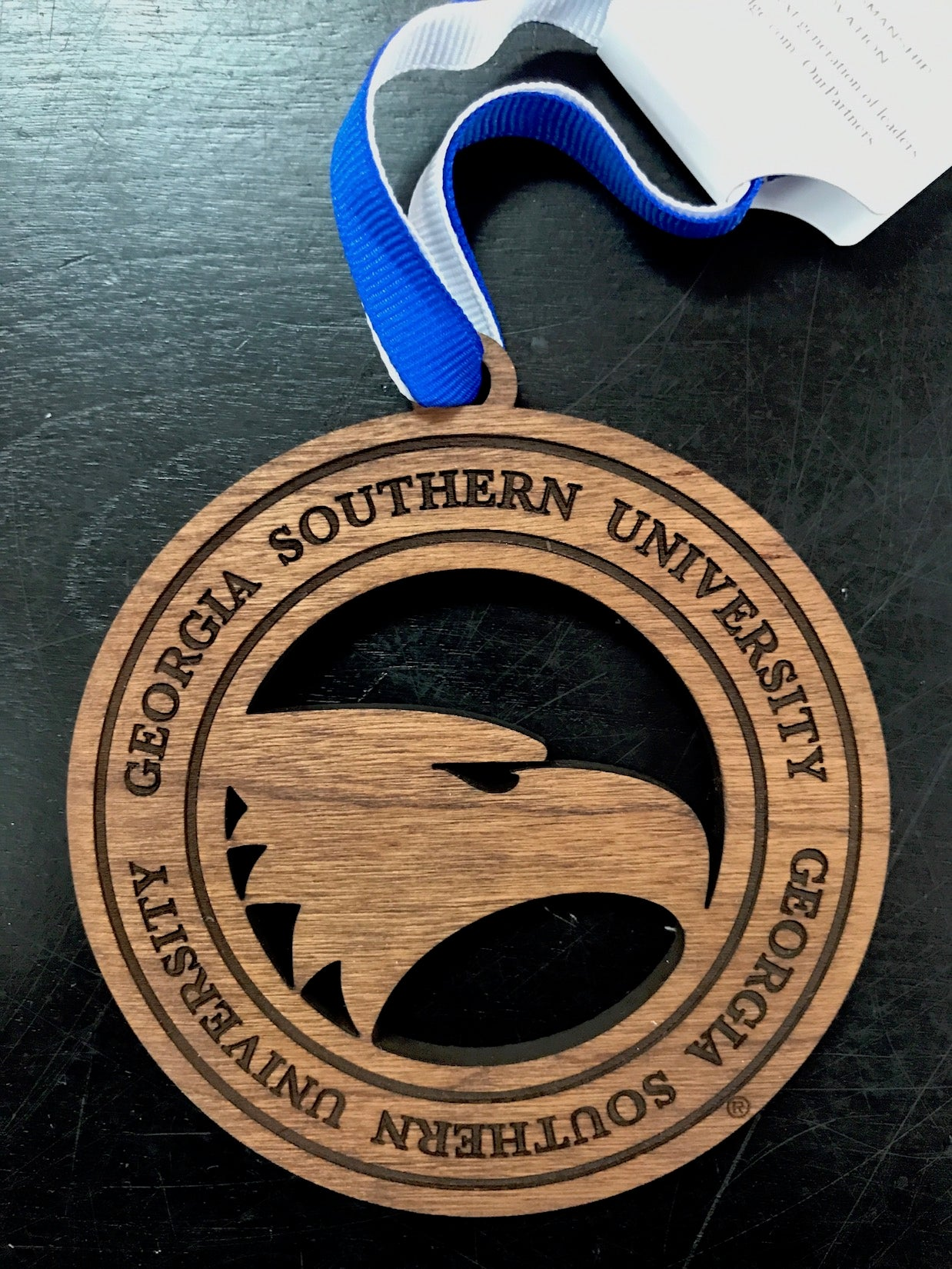 Academic Eagle Wood Cut Ornament